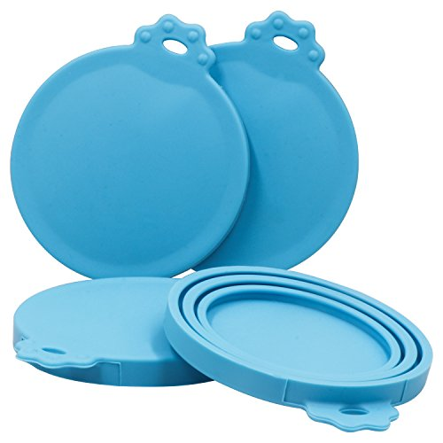 Can Cover Lids (4 Pack) - TWZ Universal Silicone Blue Food Can Covers for Multiple Sizes, BPA Free and Dishwasher Safe