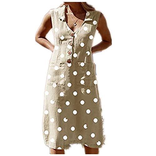 Aniywn Women's Elegant Dot Print Boho Dress Sleeveless V Neck Casual Button Dresses with Pocket Khaki]()