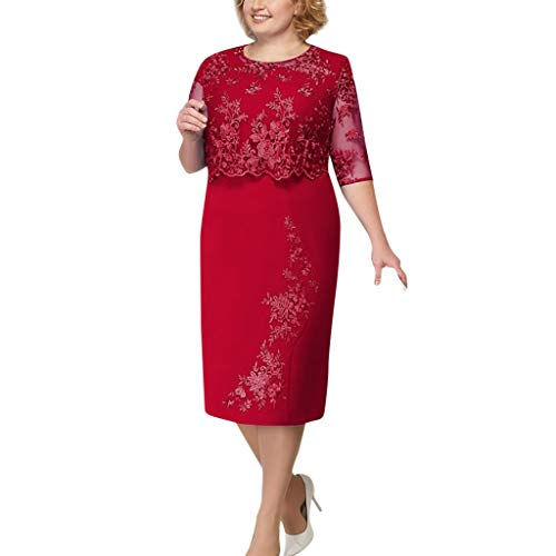 Rambling Women's Plus Size Floral Lace Elegant Mother of Bride Dress Knee Length Cocktail Party Dress Red
