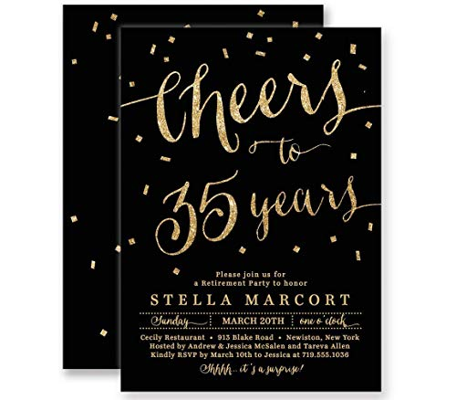 (Retirement Party Invitations Cheers to Years! Black & Gold Glitter Look Boutique Invites with Envelopes- Stella style)