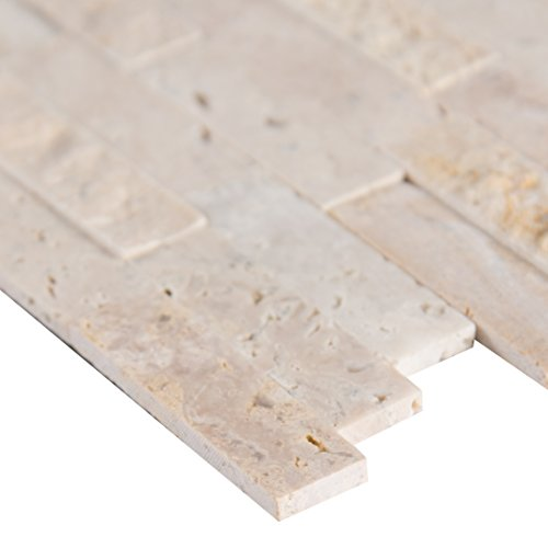 MS International PNS-RBSF-6MM Roman Beige Splitface Peel and Stick x 12 in. x 6 mm Travertine Mesh-Mounted Tile x (sq.ft), (15 sq. ft./case), Mosaic (Beige Roman Flooring)