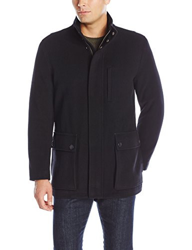 Cole Haan Men's Wool Cashmere Carcoat, Black, Large