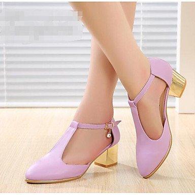 PU zapatos de casuales Moda CN39 Purple Verano sandalias Mujer UE39 tacones US8 de Blanca UK6 Confort RUGAI UE 01SAv88H