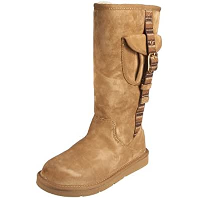 Ugg Australia Retro Cargo Womens SZ 9 Beige Chestnut Boots Winter Shoes