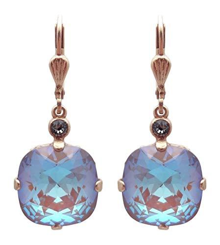 (Catherine Popesco 12mm Cappuccino Swarovski Crystal Cushion Cut Goldtone Leverback Earrings)