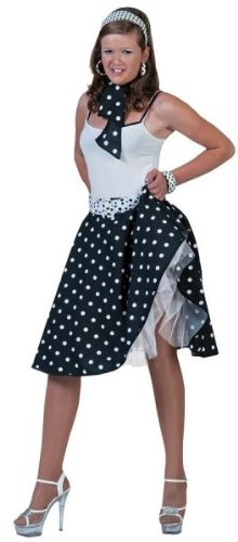 Sock Hop Skirt And Scarf (Black/White) Adult Accessory