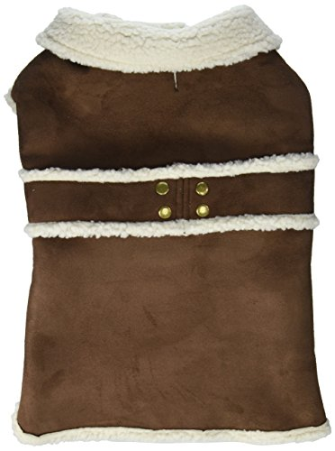 Dog Coat Suede Faux (Fashion Pet Outdoor Dog Shearling Coat, Large, Brown)