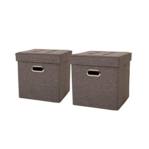 Glitzhome Foldable Linen Storage Ottoman Cubes with Padded Seat Gray, Set of 2