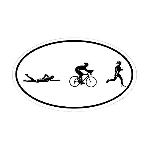 CafePress-Womens-Triathlon-Icons-Oval-Sticker-Oval-Bumper-Sticker-Euro-Oval-Car-Decal