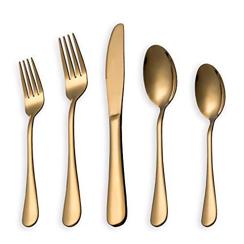 (HOMQUEN 5-Piece Golden Set Service for 1, Stainless Steel Knives Forks Spoons Cutlery Set, Gold Titanium Tableware Set Dishwasher Safe(Shiny)
