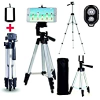 SWAPKART Adjustable Aluminium Alloy Tripod Stand Holder for Mobile Phones & Cameras, 360 mm -1050 mm, 1/4 inch Screw Metal Body + Mobile Holder Bracket with Shutter Remote Controller