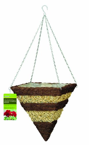Gardman R374 Brushwood and White Rattan Square Cone Hanging Basket, 14