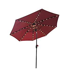 9 Feet Round Aluminum Solar Powered Umbrella with Tilt, 64 LED Light, USB Connector with Crank (Red with Base)