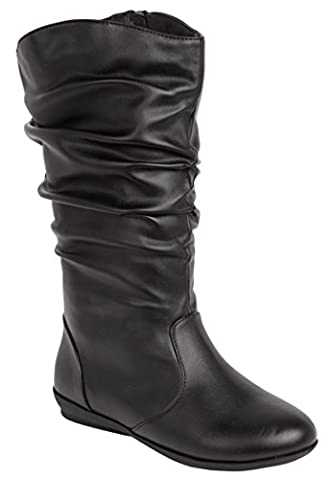 Melia Leather Scrunch Boot Black,10 W - Leather Scrunch Boot
