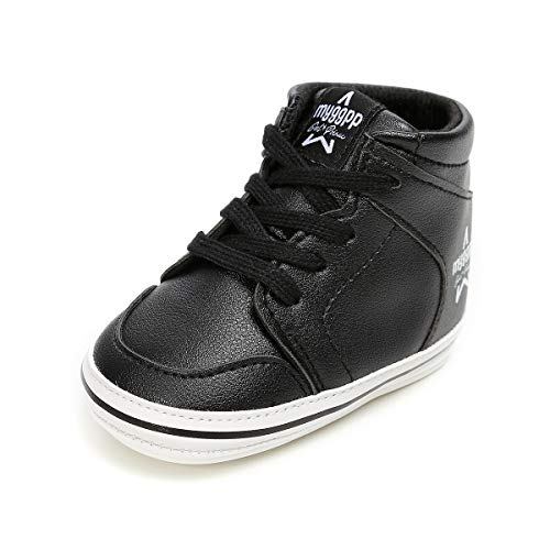 (Antheron Baby Boys Girls High-Top Ankle Outdoor Sneakers Anti-Slip Rubber Sole Toddlers First Walkers Shoes (Black,6-12 Months))