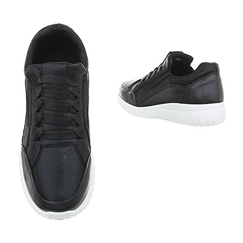 Ital-Design Sneakers Low Damenschuhe Sneakers Low Sneakers Freizeitschuhe Schwarz