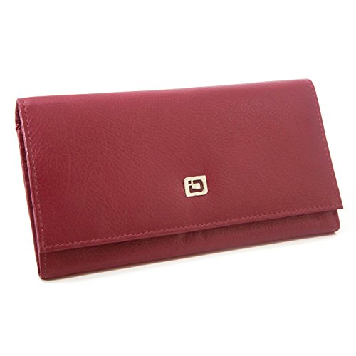 RFID Wallet Ladies Clutch - RFID Protective Ladies Wallet - RFID Secure Wallets Stop Electronic Pickpocketing (Red)