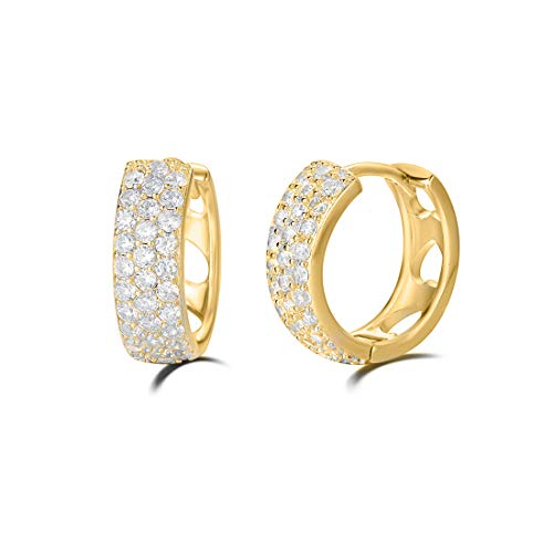 Carleen 14K White/Yellow Gold Plated Sterling Silver Pave Cubic Zirconia CZ Small/Tiny/Mini/Little Thick Huggie Cartilage Hoop Earrings For Women Girls, 13mm (Yellow Gold Plated) ()