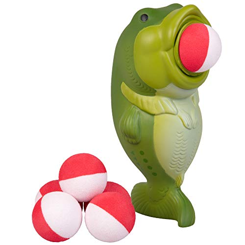 Hog Wild Bass Popper Toy - Shoot Foam Balls Up to 20 Feet - 6 Balls Included - Age 4+