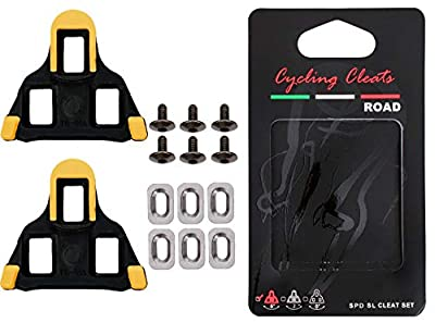 northseven Bike Cleats SPD SL 6 Degree Float Self Locking,SPD,LOOK Delta 9 Degree Float KEO Grip Road Cleat,Road Bike Bicycle Cleats,Indoor Cycling,Mountain bicycle cleat set,spinning (SPD SL 6)