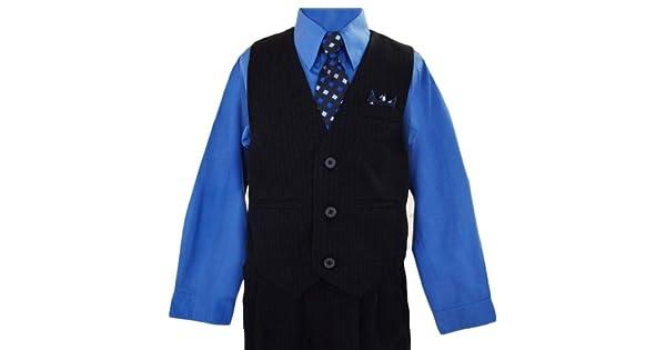 Amazon.com: Boys azul marino Pinstripe Chaleco Traje con ...