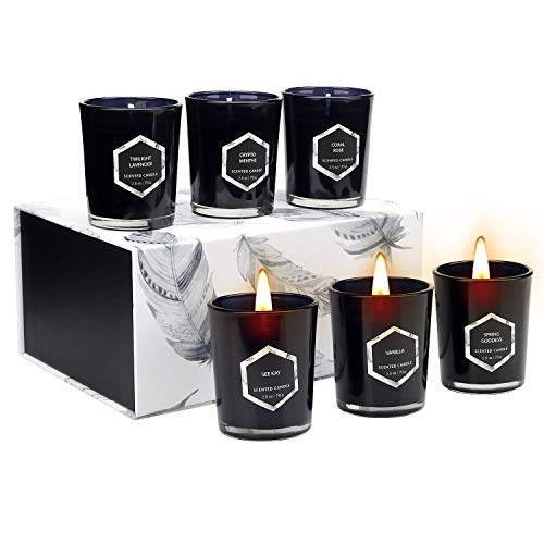 YINUO MIRROR Scented Candles Gift Set, Red Flame Votive Candle Natural Soy Wax 2.5 Oz Per Cup Glass Women Gift with 7% Essential Oils Strongly Fragrance for Stress Relief and Aromatherapy - 6 Pack
