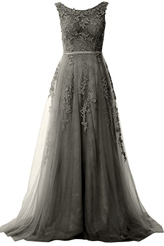 Prom Gray Gown Women Vintage Formal Long MACloth Boat Neck Lace Evening Dress Party 7XIxXw6