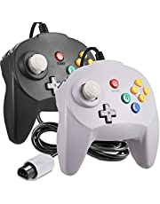 [New Version] 2 Pack for N64 Controller, iNNEXT Game pad Joystick for 64 - Plug & Play (Non PC USB Version) (Joystick from Japan) Black/Grey