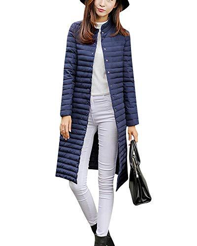 Coupe-Jacke Femme Hiver Bouffant Parker Unicolore Manches Longues Spcial Style Poches Avant Bouton Manteaux De Bonne Qualit Vtements D'Extrieur Col Debout Marine
