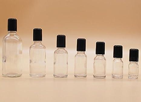 Juego de 3 tarros de botellas de cristal transparente con bolas de acero para cosméticos, maquillaje, contenedor para aceite esencial, perfume, labio, ...