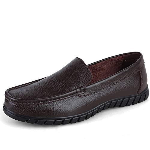 Marron 43 EU DuoShengZhTG Chaussures pour Hommes en Cuir véritable pour Hommes d'affaires Décontracté Driving Loafer Oxfords Couture à la Main Gros Bout Rond