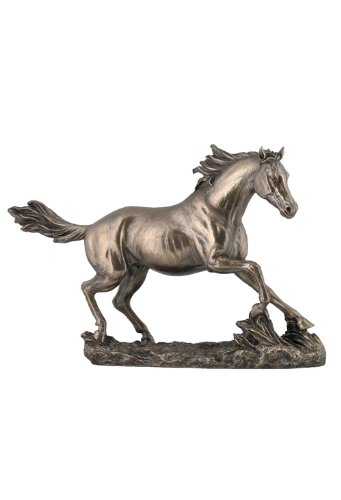 - 13.63 Inch Horse Cantering on The Grassland Cold Cast Bronze Figurine