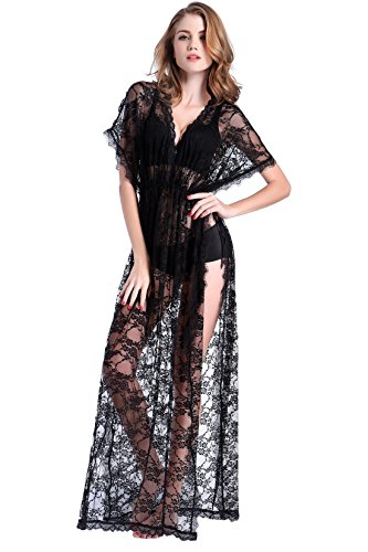 Deceny CB Sexy Night Dress Lace Babydoll Lingerie for Women See Through Gown (XL-XXL, Black) (Plus Size Long Gown Lingerie)