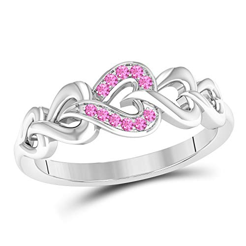 (Jewelryhub Heart Infinity Style Lab Created Pink Sapphire Round Cut 14k White Gold Plated Sterling Silver Anniversary Wedding Band Ring for Women's)