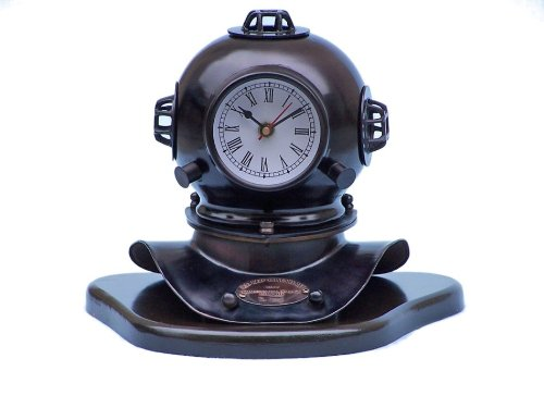 Hampton Nautical  Iron Divers Helmet Clock on Wood Base, 12'', Iron by Hampton Nautical