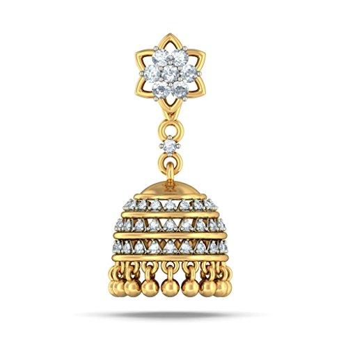 Or jaune 18K 0,69ct tw White-diamond (IJ   SI) Pendants d'oreilles