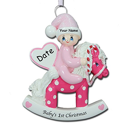 Personalized Baby Girl's First Christmas Baby on Polka Dot Rocking Horse With Glittered Santa Hat Christmas Tree Ornament with Name and Date