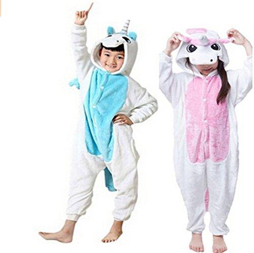 [Unisex Child Sleepsuit Costume Cosplay Homewear Lounge Wear Kigurumi Onesie Pajamas (S, Pink unicorn] (Unicorn Costume Baby)