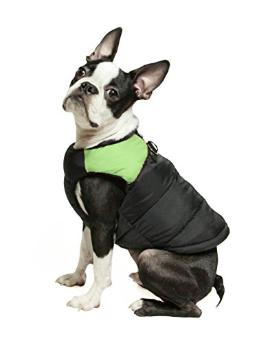 - Gooby - Padded Vest, Dog Jacket Coat Sweater with Zipper Closure and Leash Ring, Green, Large