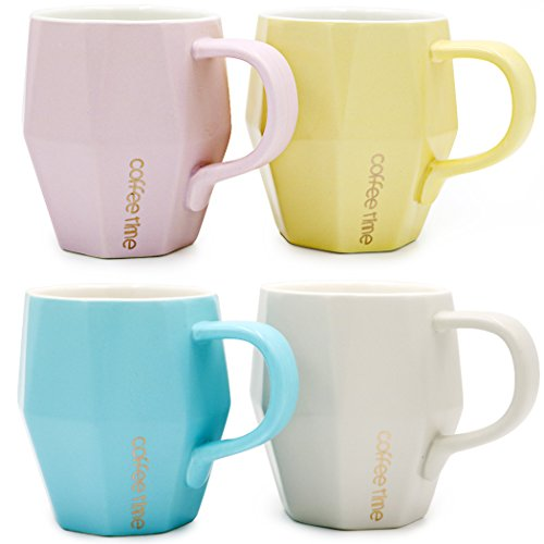 Asmwo Set of 4 Colorful Diamond Cup Cute Ceramic Tea Coffee Mug Set, 14-OZ