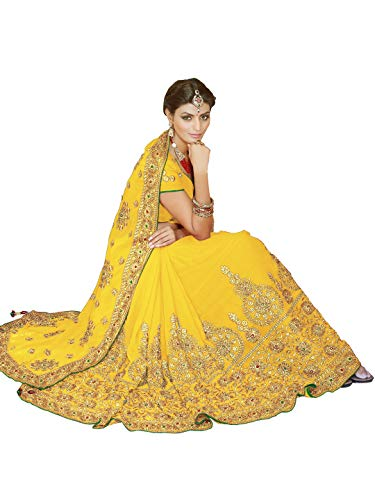 Sourbh Women Bollywood Saree Indian Bridal Wedding Dress Blouse (9863_Yellow)