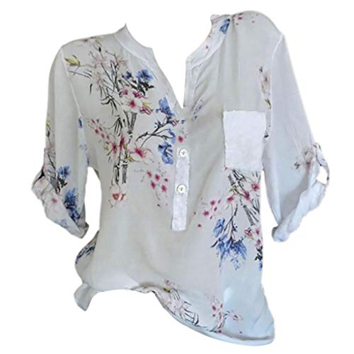 Women Print Tops, JOYFEEL Ladies Casual Summer V-Neck Shirt Short Sleeves Plus Size Loose Vest Floral Plus Size Tank ()