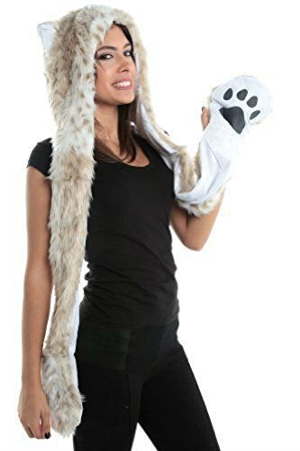 Halloween Costume Snow Leopard Animal Anime Hood Cosplay Party with Paws and Ears Zipper (Best Simple Halloween Costumes)