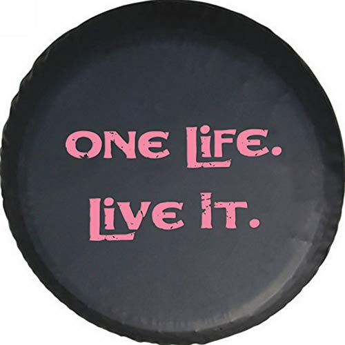 YOCTM Red Print One Life Live It Black PU Leather Spare Tire Cover for Jeep VW BMW Sahara Rubicon Hummer Toyota FJ Cruiser Suzuki (17inch)