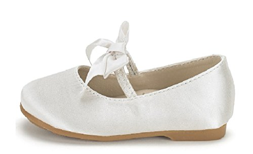 DREAM PAIRS Sophia-22 Adorables Mary Jane Front Bow Elastic Strap Ballerina Flat Toddler New Ivory Size -