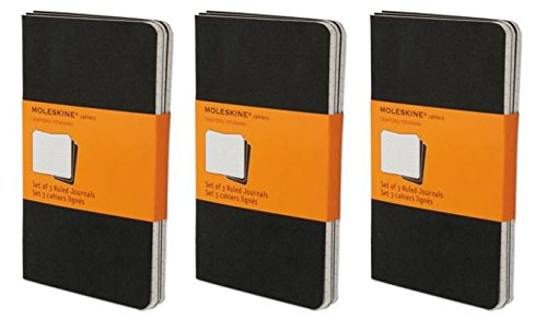 Pack of 3 Moleskine Cahier Journal (Set of 3), Large, Ruled, Black, Soft Cover (5 x 8.25): set of 3 Ruled ()