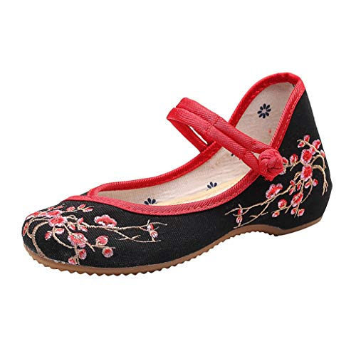 Toimothcn Embroidered Canvas Shoes Women Vintage Ankle Double Strap Ethnic Shoes (Black6,US:8)