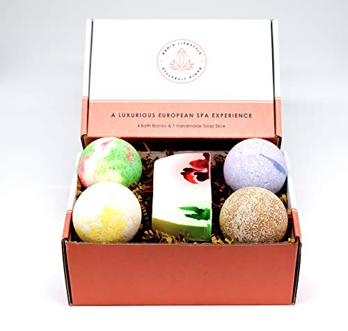 Rania LifeStyle Bath Bomb Gift Set 4 Fizzies and 1 Handmade Soap Slice – Essential Oils Dry Skin Moisturize, Perfect for Bubble Bath & Spa Bath Handmade Gift Idea for Her/Him Wife Girlfriend