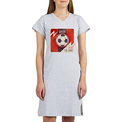 Royal Lion Women's Nightshirt (Pajamas) Soccer Football Play The Game Red - Heather Grey, Medium