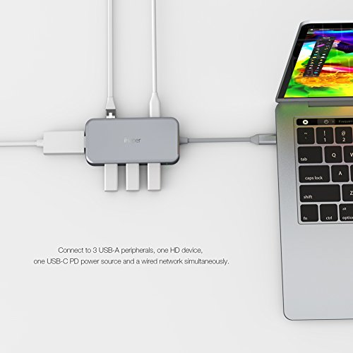 iHaper USB C Hub, USB Type C Hub with USB-C 3.1 (Power Dellvery) for Charging, Gigabit Ethernet Port, 4K HDMI Port, 3 USB 3.0 Ports for MacBook,MacBook Pro 2016/2017,Dell XPS 13 and more, Space Gray by iHaper (Image #1)
